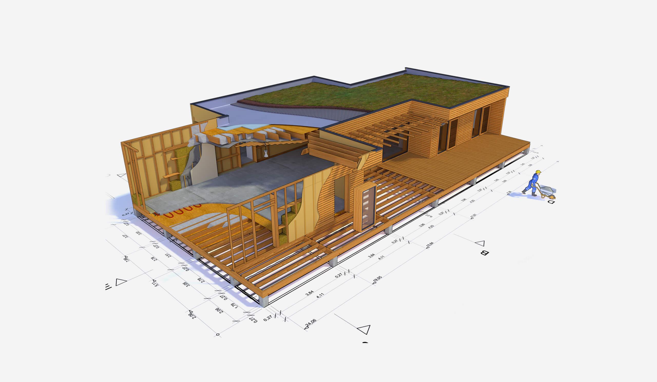 un plan de coupe pour une maison ossature bois, projet bois réalise en vendée 85